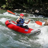 Open kayaking on the river
