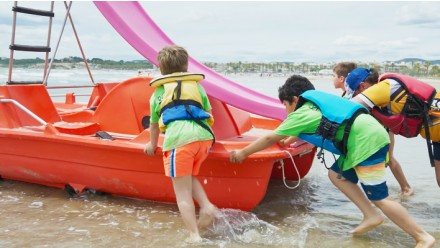 Pedalo rental with water slide-1 hour